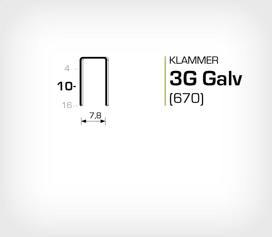 Klammer 3G/10 Elförzinkad Galv (670-10)